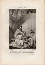 1862 STELLA NEL BAGNO DONNA NUDA NUDITÀ FEMMINILE VOYEURISMO STAMPA RISORGIMENTO