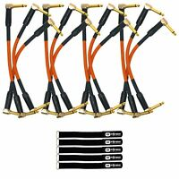 """6"""" Angled Electric Guitar Bass Effects Pedal 1/4"""" Patch Cables Orange 4 Pack"""