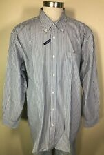 Basic Editions Long Sleeve Blue Navy White Striped Easy Care Shirt Big Men's 2XL