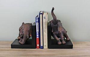 Bookends 2 Elephants Vintage Decorative Bronze Sculpture Ornament Book End Decor
