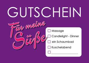 """Karte Grußkarte Postkarte """"Gutschein für meine Süße"""""""