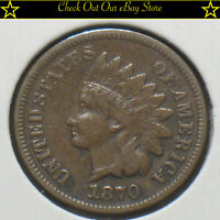 1870 U.S. Indian Head Cent 1c VF+ Brown Penny Copper Close Full Liberty
