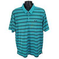 OAKLEY Mens Polo Golf Shirt Size XL Short Sleeve Teal Green and Black Stripe EUC