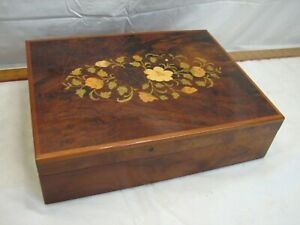 Wooden Inlay Marquetry Flatware Storage Box Wood Inlay Flower Decor Ornate