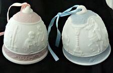 2 Lladro Christmas Bells Bisque Raised Design Vtg 1990 1996