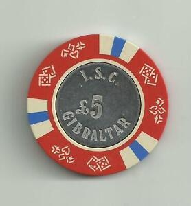 GIBRALTAR ISC £5 chip rare -  POST FREE