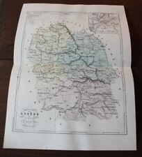 1850 Carte Géographique Atlas époque couleur Département Lozère 48 Mende