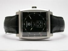 TAG HEUER MONACO STAINLESS STEEL MENS WATCH MODEL #WW2110 LEATHER STRAP