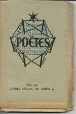 Livre Poètes prisonniers Mars 1943/imprimé en 43/cahier spécial/Censure fictive