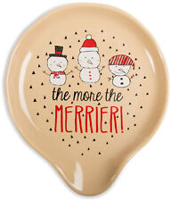 "The More The Merrier Spoon Rest Snowmen Stoneware 5"" New"