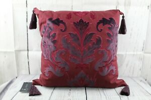 """Embroidered Appliqué Pillow Square 20"""" Hallmart Collectibles Hypo Allergenic Red"""