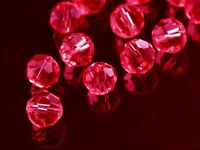 72pcs 8mm Round Faceted Crystal Glass Jewelry Making Loose Spacer Beads Red