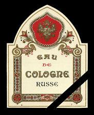 Old Vintage French Perfume Label: Eau de Cologne Russe