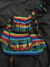 Small Rainbow Hippie Hand Made Tribal Design Back Pack w/ Adjustable Straps