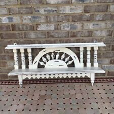 Carved White Wooden Wall Double Shelf Farmhouse Shic Plate Holder Victorian