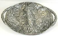 """Vintage Pewter Divided Serving Tray Grape & Strawberry Motif 17"""" x 12"""" x 2 1/4"""""""