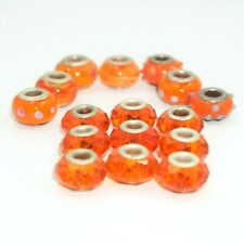 Glass Murano Orange Blue Dots Swirl Lampwork Bead Lot 16 pc Beads  TH