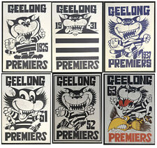 1925 - 1963 Geelong Premiership WEG posters X 6 Cats Premiers poster