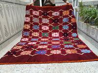 Vintage Handmade Moroccan Azilal Rug, Beni Ourain Wool Carpet,Berber Tribal Rug