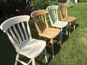 Slat Backed Farmhouse Kitchen Dining  Pine Chairs X 4