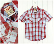 NEW LEVI'S  SHIRT  CHECK RED/BLUE  SLIM FIT SHORT SLEEVE S SMALL