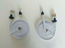 2 METRE WHITE FLAT USB  CHARGER CABLE LEAD FIT APPLE IPHONE 5 ONWARDS UK SELLER