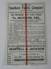 Old 1913 S.P. RAILROAD Ticket -  JACKSON CA. via Amador Central RR - Martell
