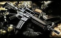 Framed Print - M16 Assault Rifle with Assault Gear (Picture Poster Gun War Art)