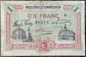 Billet 1 franc Chambre de Commerce Limoges - nécessité - série G