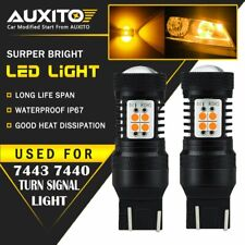 2X AUXITO 7443 7440 7444NA  T20 LED Amber Yellow Turn Signal Light bulb 14K EA