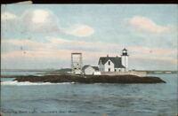 Buzzards Bay Cape Cod MA Dumpling Rock Lighthouse c1910 Postcard