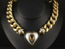 Imposantes Brillant Citrin Herz Collier 11,62ct 162,4g 750/- GG/WG