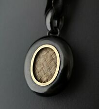 Antique Victorian Whitby jet mourning locket, hairwork