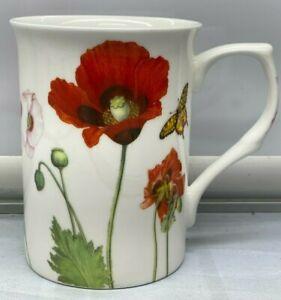 "RED Poppy Flowers Stechcol Cup Mug New  10 oz 4  "" High"