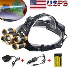 80000Lumen CREE 5X XML T6 Zoomable LED Headlamp Focus Head Light +18650 +Charger