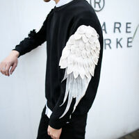Fashion Men Korean Crew Neck Wing Sleeve T-Shirt Spring Pullover Slim Fit Tops