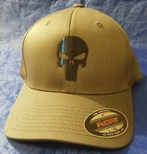Punisher Skull with Thin Blue Line Embroidered FlexFit Hat