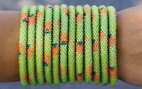 "Sashka Co reg 6-8"" PUMPKIN Glass Beaded BRACELET Nepal Fair Trade orange green"