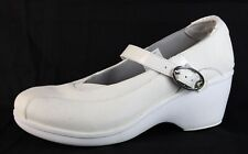 Crocs Mary Jane women's wedge shoes heels white leather buckle size US 8