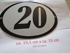 Hausnummer schwarze Nr. 20  weißer Hintergrund 19 cm x 15 cm Oval Emaille