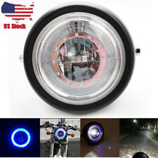 "Motorcycle Blue HALO Ring LED 6 1/2"" Headlight Black For Harley Bobber Angel Eye"