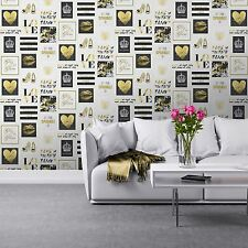 GLITZ & GLAM WALLPAPER - MURIVA 102556 - BLACK & GOLD NEW BLING