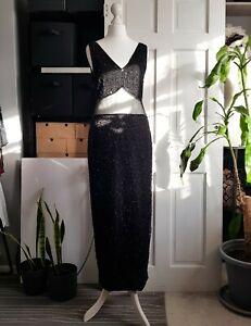 VINTAGE 80s Laurence Kazar black beaded silk evening dress. sheer waist UK 10