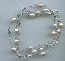 "36"" LONG 925 STERLING SILVER, FRESHWATER PEARL & CZ BY THE YARD NECKLACE"