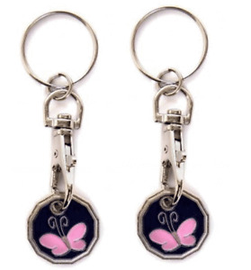 2X BUTTERFLY New Shape One Pound £1 Coin Trolley Token Keyring Shopping Xma Gift