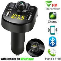 Bluetooth Car FM Transmitter Wireless Radio Adapter USB Charger Mp3 Player Black