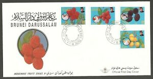 AOP Brunei FDC First Day cover & info card #457-60 1994 Fruits