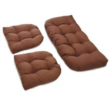 Outdoor All Weather 3pc Wicker Settee Chair CUSHION SET Medium Brown Solid