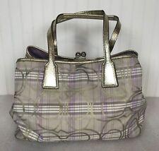 COACH F17213 Signature Striped Tartan Plaid Carryall Handbag/Shoulder Bag