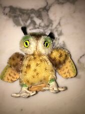 Vintage Steiff Wittie owl mohair with silver button ID